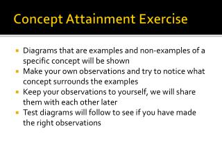 Concept Attainment Exercise