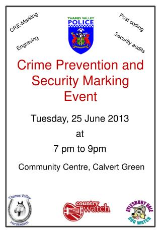 Crime Prevention and Security Marking Event
