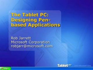 Rob Jarrett Microsoft Corporation robjarr@microsoft