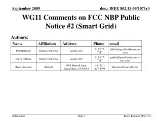 WG11 Comments on FCC NBP Public Notice #2 (Smart Grid)