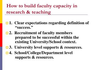 How to build faculty capacity in research & teaching