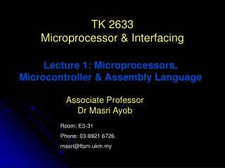 TK 2633 Microprocessor & Interfacing