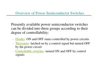 Overview of Power Semiconductor Switches
