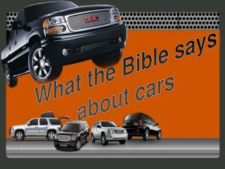 What the Bible says about cars