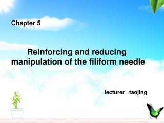 Chapter 5        Reinforcing and reducing manipulation of the filiform needle lecturer   taojing