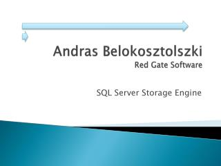 Andras Belokosztolszki Red Gate Software