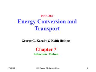 EEE 360 Energy Conversion and Transport
