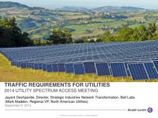 TRAFFIC REQUIREMENTS FOR UTILITIES 2014 UTILITY SPECTRUM ACCESS MEETING