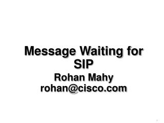 Message Waiting for SIP