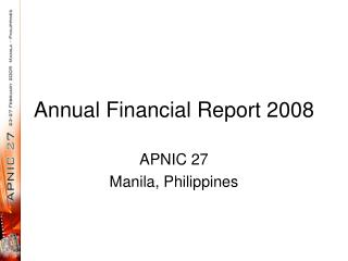 Annual Financial Report 2008