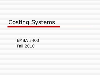 Costing Systems