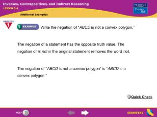 "Write the negation of "" ABCD  is not a convex polygon."""
