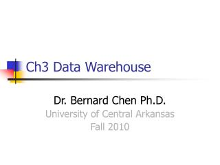 Ch3 Data Warehouse