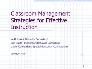 Classroom Management Strategies for Effective Instruction