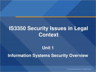 IS3350 Security Issues in Legal Context