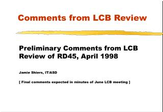 Comments from LCB Review
