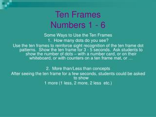 Ten Frames Numbers 1 - 6