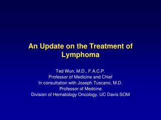 An Update on the Treatment of Lymphoma