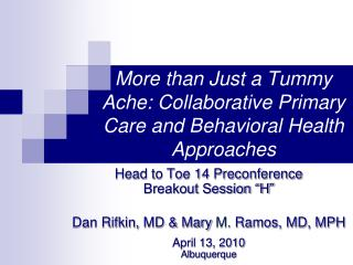 More than Just a Tummy Ache: Collaborative Primary Care and Behavioral Health Approaches