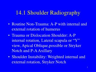 14.1 Shoulder Radiography