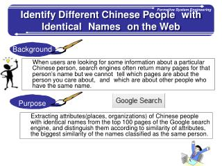 Identify Different Chinese People with Identical Names on the Web