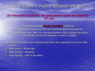 Historical Studies in Physical Education and Sport