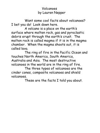 Volcanoes 		by Lauren Nepper