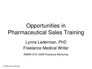 Opportunities in Pharmaceutical Sales Training