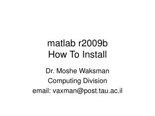 matlab r2009b How To Install