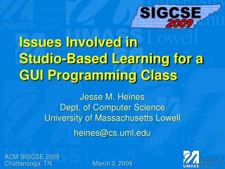 Issues Involved in Studio-Based Learning for a GUI Programming Class