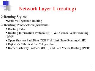 Network Layer II (routing)