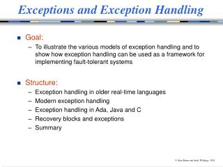 Exceptions and Exception Handling
