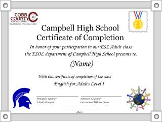 Campbell High School Certificate of Completion