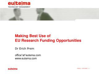 Making Best Use of EU Research Funding Opportunities