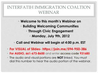 INTERFATIH IMMIGRATION COALTION WEBINAR