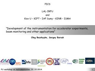 """Development of the instrumentation for accelerator experiments,"