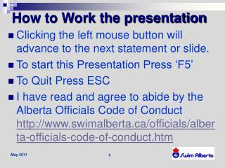 How to Work the presentation