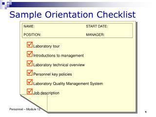 Sample Orientation Checklist