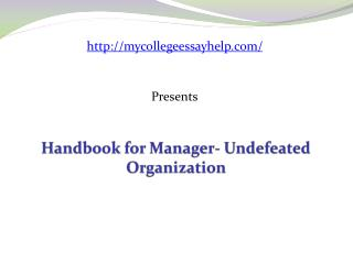 Handbook for Manager