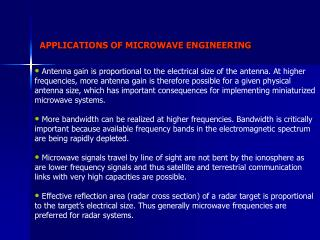 APPLICATIONS OF MICROWAVE ENGINEERING