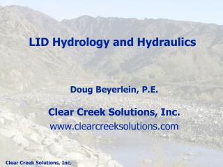 LID Hydrology and Hydraulics