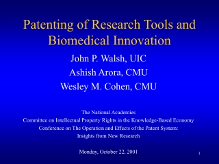 Patenting Research Tools: what you get and how to get it.