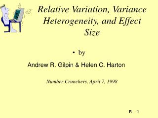 Relative Variation, Variance Heterogeneity, and Effect Size
