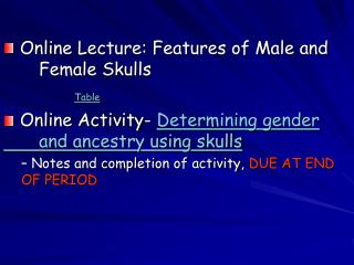 Online Lecture: Features of Male and 	Female Skulls Table