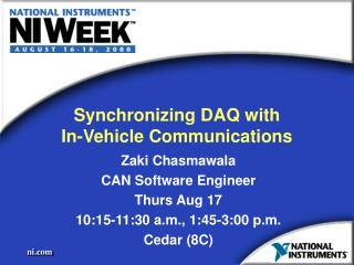 Synchronizing DAQ with  In-Vehicle Communications