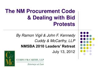 The NM Procurement Code & Dealing with Bid Protests