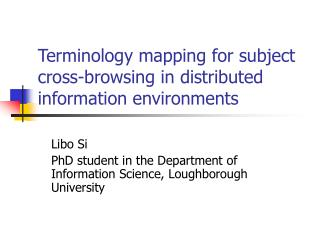 Terminology mapping for subject cross-browsing in distributed information environments
