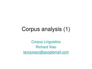Corpus analysis (1)