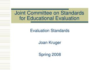 Joint Committee on Standards for Educational Evaluation