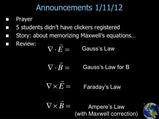 Announcements 1/11/12